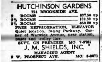 1943 Ad for Hutchinson Gardens